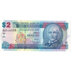 2 доллара 2007 года UNC Барбадос