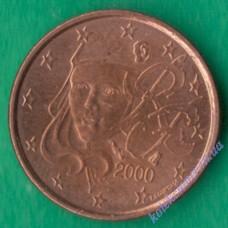 1 евроцент 2000 года Франция