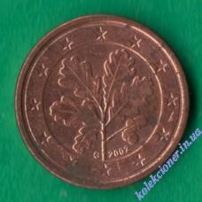 1 евроцент 2002 года G Германия