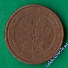 1 евроцент 2002 года J Германия