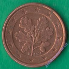 1 евроцент 2004 года D Германия