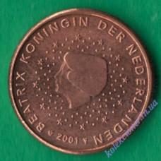 1 евроцент 2001 года UNC Нидерланды