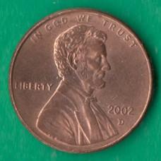 1 цент 2002 года D США